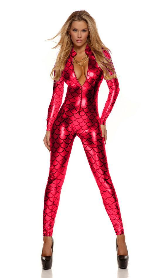 Fish Scales Mermaid Costume Catsuit Bodysuit Red catsuit Ninimour Sexy Metallic Vinly Leather Jumpsuit Wholesale Price 207995B