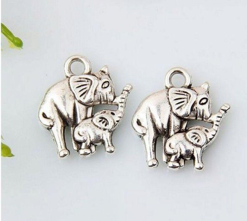 الحار ! 150pcs Antiqued سبائك الفضة الفيل سحر DIY مجوهرات 12 × 15 مم (374)