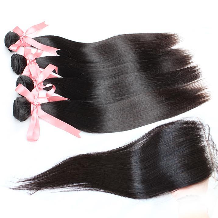 Greatremy® 100% Indiase haar weefsel inslag 4 stks bundels + 1pc kant sluiting menselijke hairextension virgin hairsilky rechte natuurlijke kleur