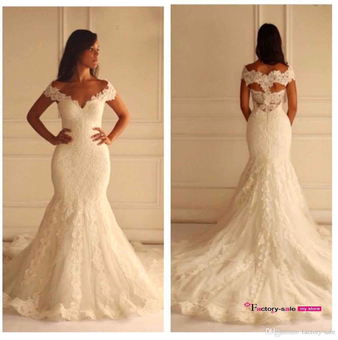 lace wedding dresses 2019 Sexy Mermaid Wedding Dresses Off the Shoulder V Neckline Lace Appliques Sweep Train Zipper Back Bridal Gowns