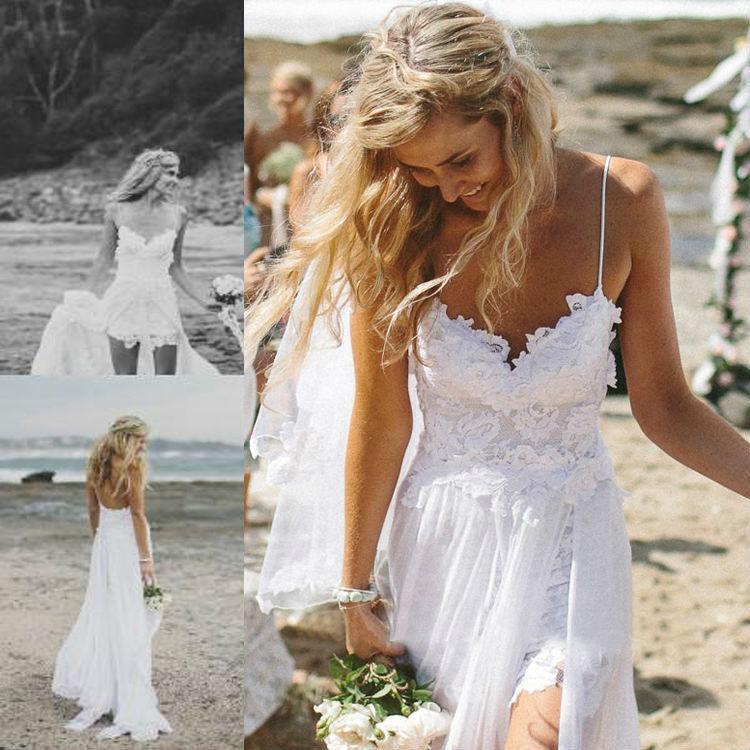 [DHL 배송] 스트랩 핫 오간자 프론트 사이드 슬릿 정장 Vestido 라인 신부 드레스 2015 여름 해변 웨딩 드레스 레이스
