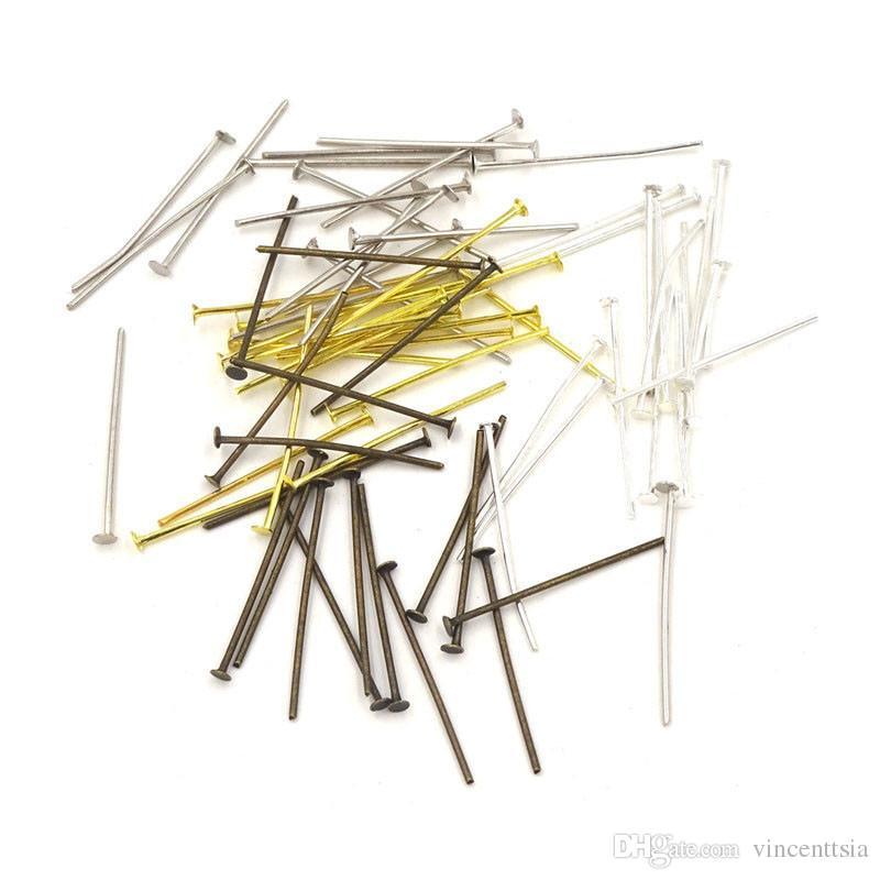 Perni a testa piatta per occhielli Aghi Chiusi Loops perline perline gioielli Creazione di gioielli Componenti di connettori accessori