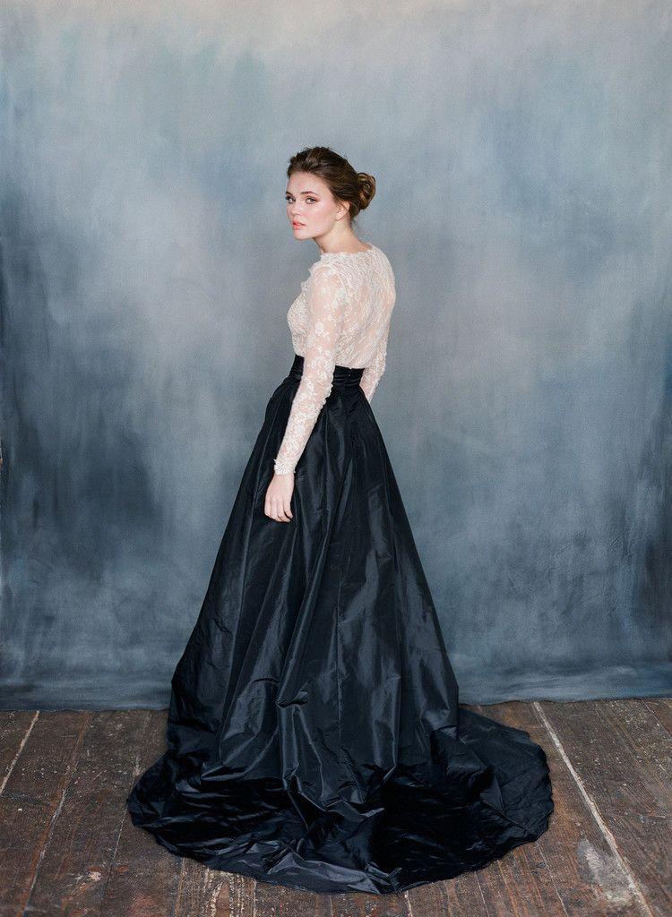 Discount 2016 Black And Ivory Wedding Dresses Valentina Sheer ...