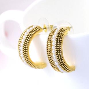 orecchini da donna semicerchi con perle di cristallo (1 * 2 cm) (woniu152)
