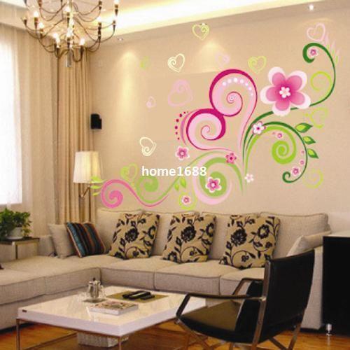 شكل قلب زهرة كرمة الجدار ملصق ديكور المنزل صائق للإزالة الفن كيد الفينيل ملصقات الحائط الغابة