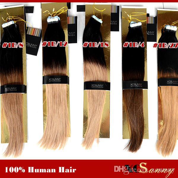 XCSUNNY 100g Bandes Extensions de Cheveux Ombre Extension Adhésive Extensions de Cheveux de Remy Indien Extensions de Cheveux Trame de Peau