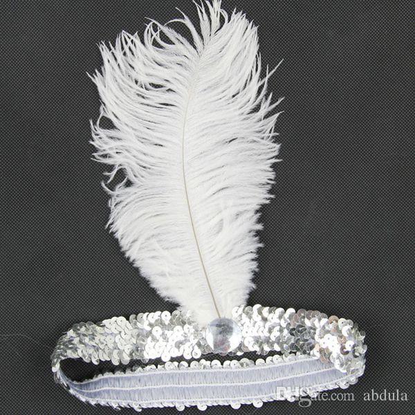 100pcs pluma de la avestruz tocado de la venda de la aleta del partido del festival venda de la pluma de la aleta de lentejuelas del traje de Charleston diadema nave de DHL
