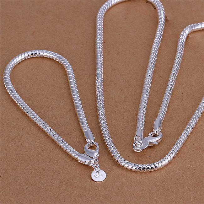 S065 Top quality 925 sterling silver snake chain necklace 4MM (20inches) & Bracelets (8inches) Fashion Jewelry Set For Men Free shipping