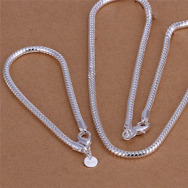 S065 Collar de cadena de serpiente de plata de ley 925 de calidad superior 4MM (20inches) Pulseras (8inches) Sistema de joyería de moda para hombres Envío gratuito