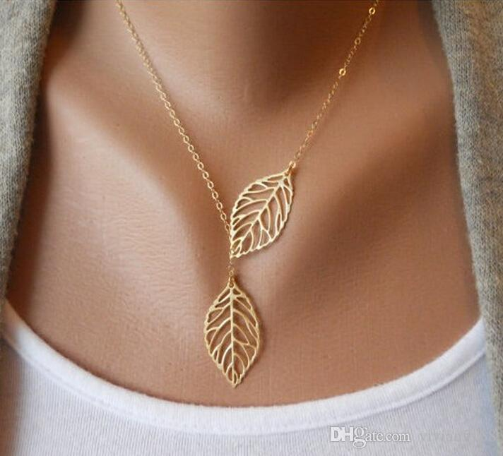 Simple European New Fashion Vintage Punk Gold Hollow Two Leaf Leaves Pendant Necklace Clavicle Chain Charm Jewelry Women Free Shipping