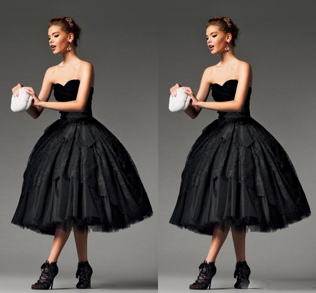 2016 Chérie A-ligne Robes de Soirée Thé-Longueur Dos Nu Ruché Velours Dentelle Tulle De Bal Robes de Soirée Nouvelle Arrivée