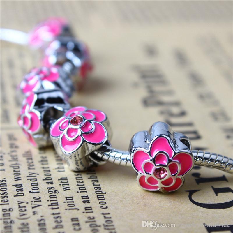 Galjanoplastia gruesa flor clásica del encanto del grano moda mujer joyería estilo europeo para Pandora pulsera collar brazalete