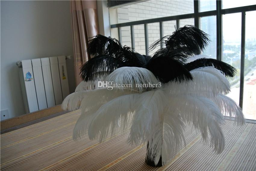 240 pcs 12-14inch white and black ostrich feather for wedding centerpiece Wedding decor wedding centerpiece party supply decor