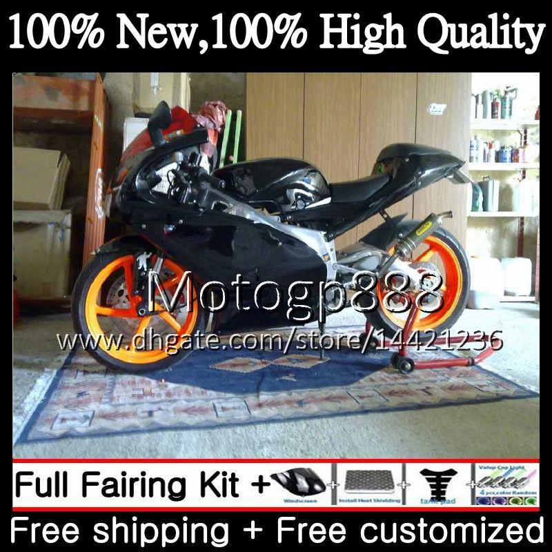Body For Aprilia RS4 RS125 99 00 01 02 03 04 05 RS-125 Black لامع 4PG21 RSV125 R RS 125 1999 2000 2000 2002 2002 2005 Fairing Bodywork