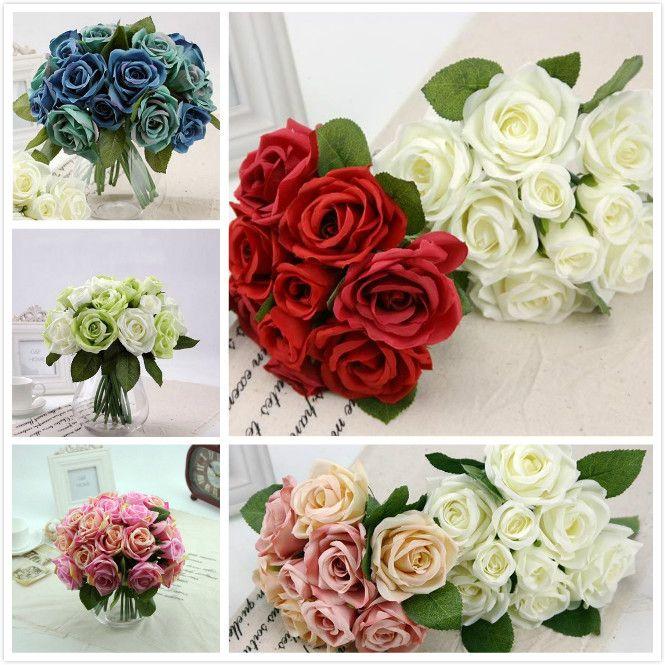 Novo Um Buquê de Rosas Artificiais Rose Flores De Seda Buquês De Noiva para o Casamento Falso Flor Floral Mobiliário Doméstico Decoração 9 Cabeças