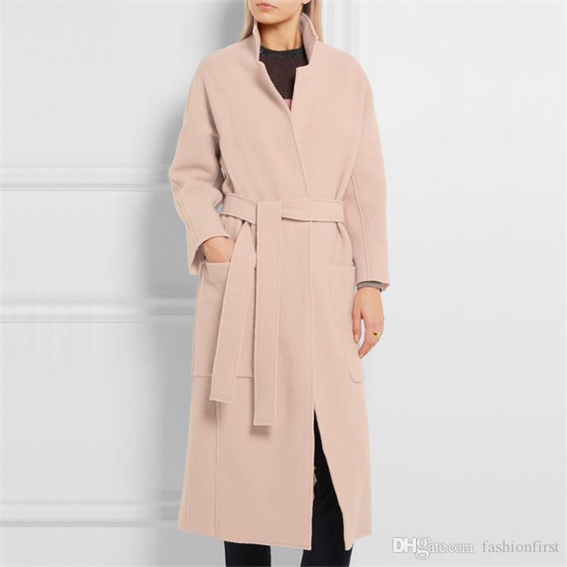 new look lady notch lapels collar coats fashion light pink wool cashmere long jacket overcoat womens winter coats with belt