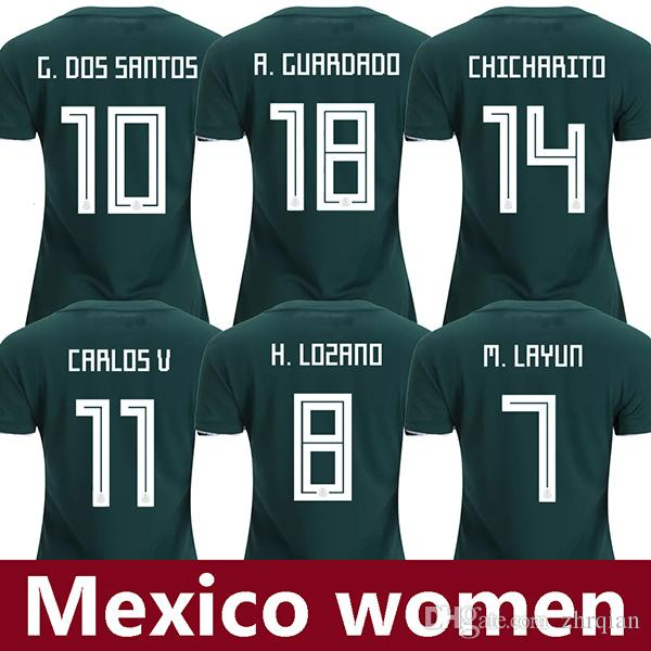 reputable site 42dd3 879f4 2019 2018 Women Mexico Soccer Jerseys HIRVING LOZANO CHICHARITO Football  Shirt 2018 World Cup 18 19 Mexico Girl Camisetas G.DOS SANTOS Maillot From  ...
