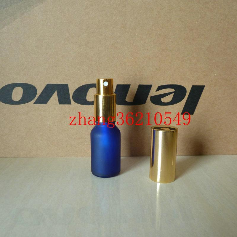15ml 블루 광택 젖빛 유리 향수 병 알루미늄 반짝이 골드 안개 분무기. 향수 분무기 병 용기