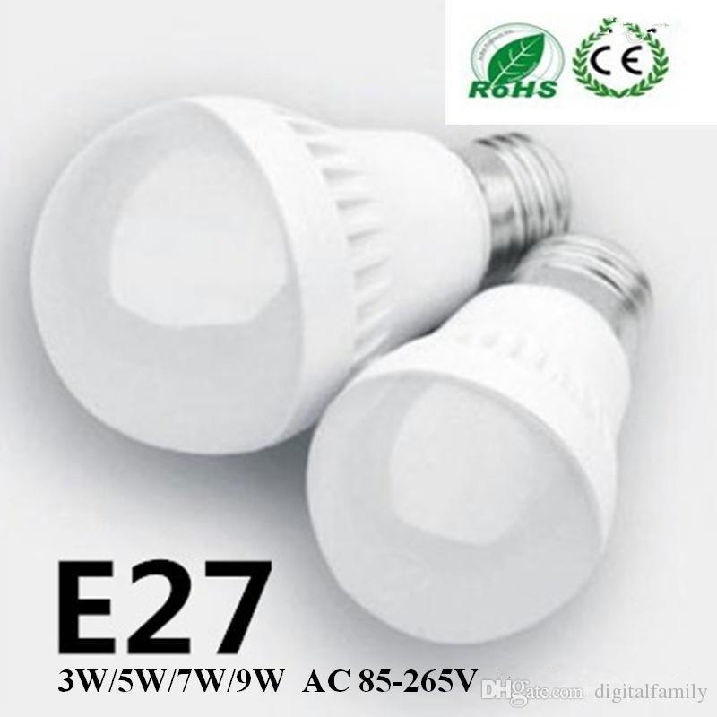 New arrive 3W 5W 7W 9W LED bulbs LED Globe Light Energy Saving Ac85-265V E27 Dimmable led lamp3 years warranty 5730 5630 led lights