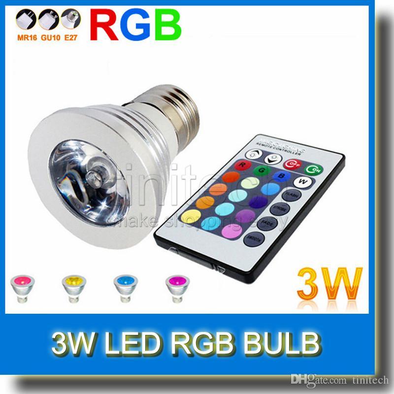 3W LED RGB Bulb 16 Colors Changing 3W LED Spotlights RGB led Light Bulb Lamp E27 GU10 E14 MR16 with 24 Key Remote Control 85-265V & 12V
