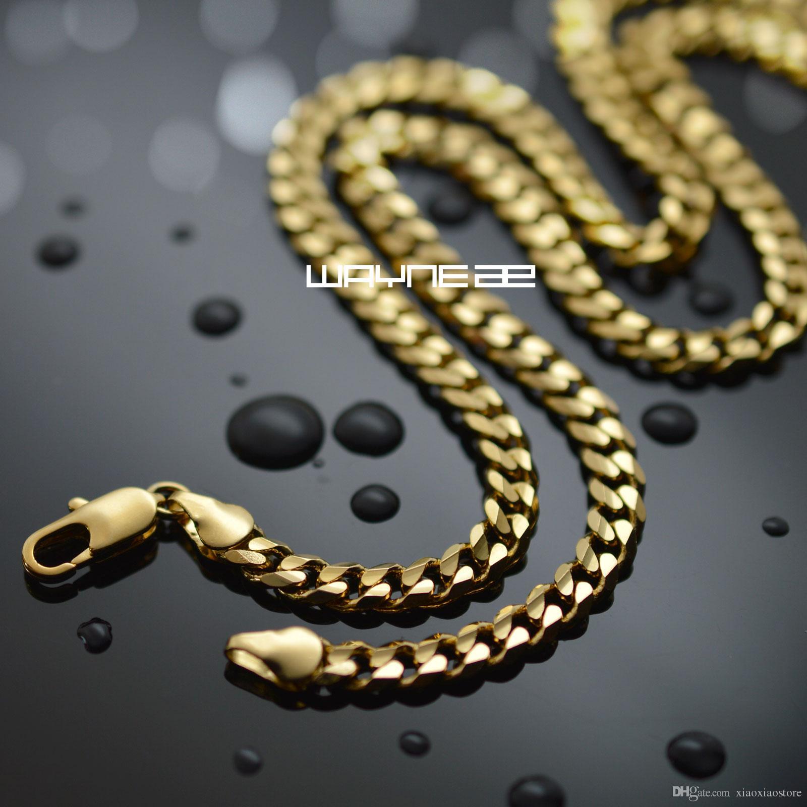 n313-18k золото GF мужские твердые цепи 19.68 дюймов ожерелье снаряженном состоянии ссылка ювелирные изделия
