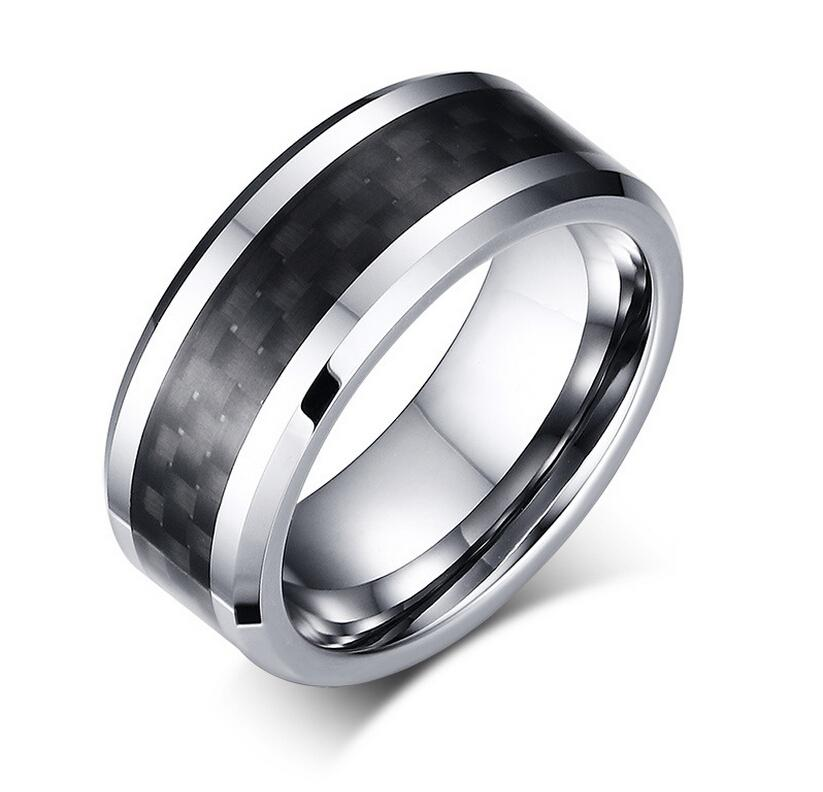 8mm Tungsten Steel Wedding Band Mens & Womens Tungsten Ring with Black Carbon Fiber Inlay Free Engraving