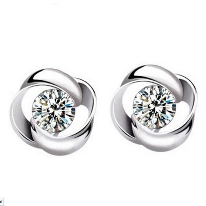 Joyería al por mayor de la manera 925 Pendientes del perno prisionero del oído de la forma de la flor cristalina de plata Pendiente colgante ED09