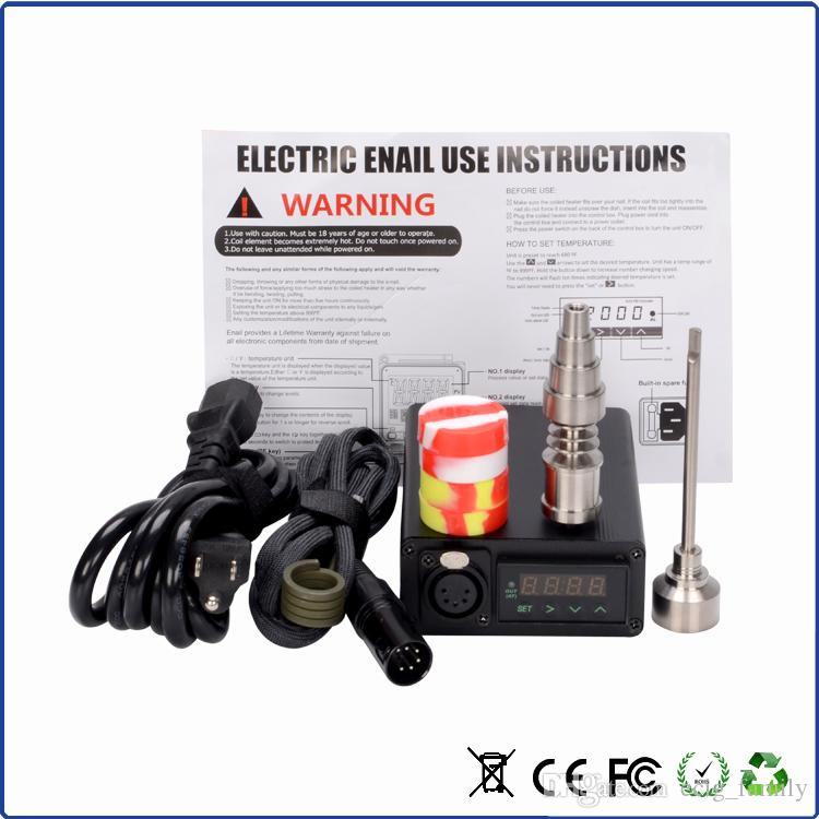 In stock E Nail Kit Digital Electronic DNail Dab Vaporizer Glass Bong Water Piper Titanium Nails with carb cap 16mm 20mm Heater Coils