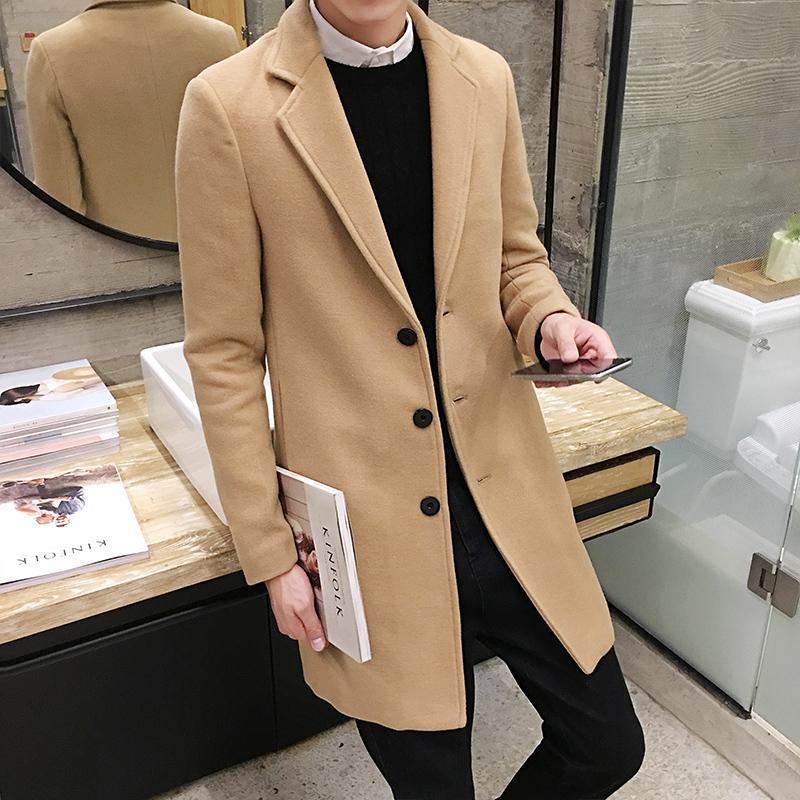 도매 - 가을 겨울 남성 패션 단일 브레스트 트렌치 코트 양모 블렌드 청년 캐주얼 양모 블렌드