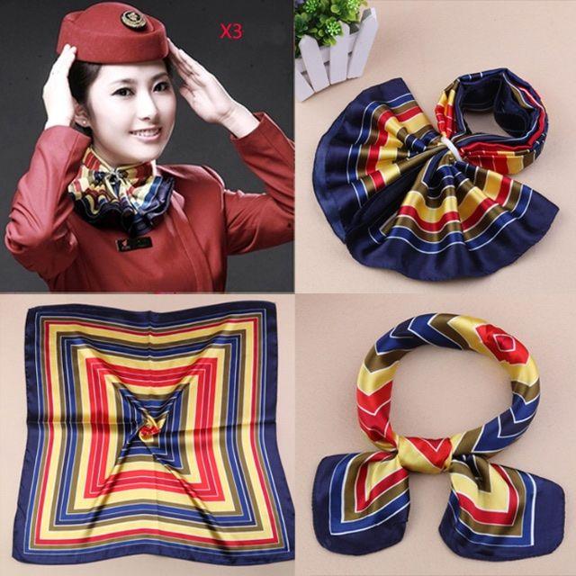 42 Colors Work Uniforms Imitation Small Silk Scarves Tasteful Women Printing Pattern Square Scarf Satin Towel 60X60CM