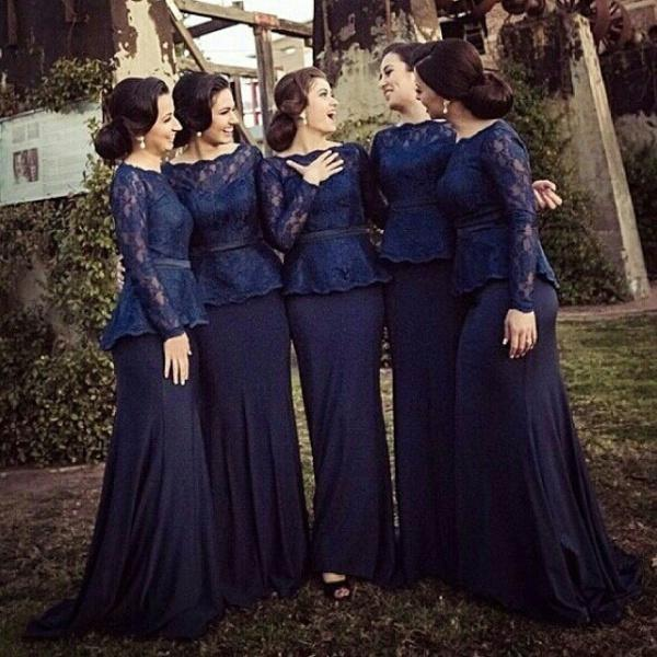 Elegant Navy Blue Bateau Neck Long Sleeves Bridesmaid Dresses with Sash Peplum Lace Mermaid Sweep Train Zipper Evening Girls Party Dress