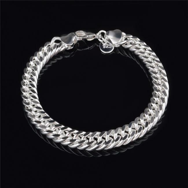 2015 New Design 6MM 8MM 10MM 925 Sterling silver Figaro chain bracelet Fashion Men's Jewelry Top quality free shipping