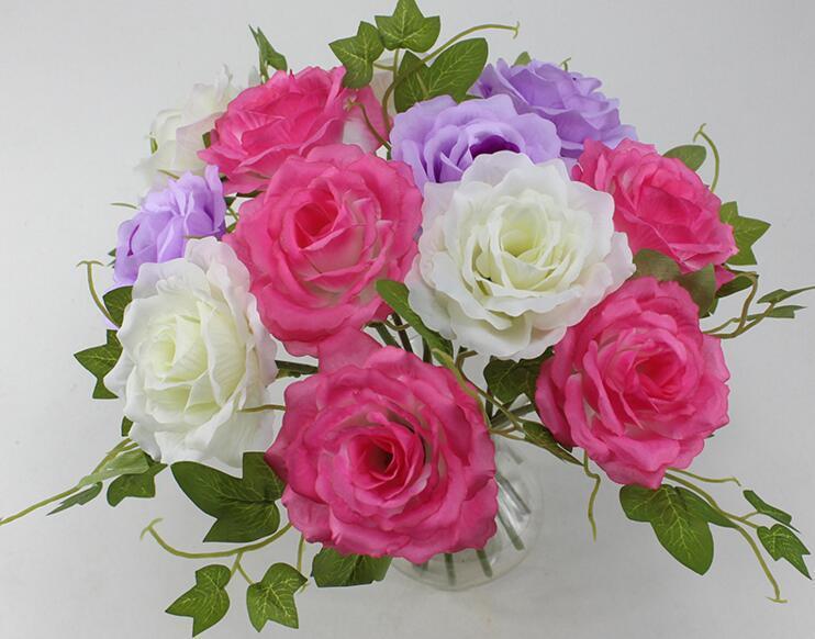 """10pcs 4 """"fiori artificiali fatti a mano foglia di rosa per la decorazione domestica della decorazione della sposa di nozze"""