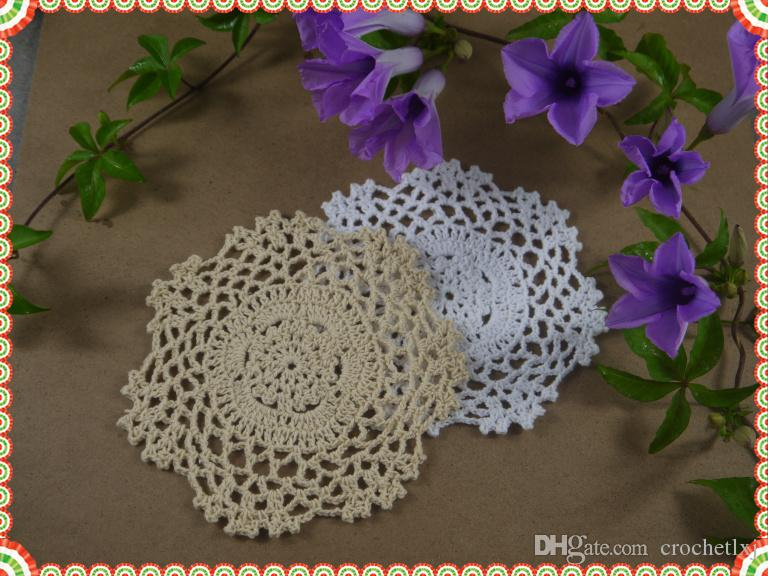 """Handmade Crochet Placemats cup mat, White Ecru Doily ,cup pad,coaster ,crochet applique 5.2""""/13CM, 20Pcs/Lot"""