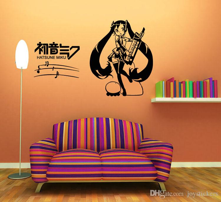 Anime Cartoon Musical Note Hatsune Miku Playing Music Singing Music Sketch Cool Propile Wall Sticker Decal Home Decor For Anime Fans