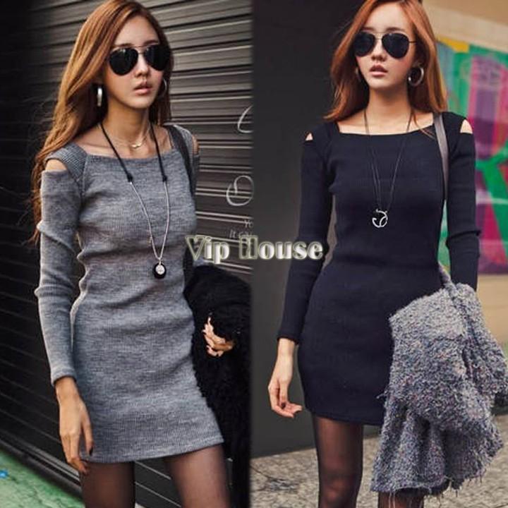 Moda 2014 Nowy Hot Casual Fashion Women Sexy Off Ramię Crew Neck Długi Rękaw Slim Knitwear Sweter Sukienka # 005 19431