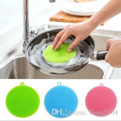 Hotsale herramientas de limpieza para el hogar grado alimenticio magia silicona cepillos de limpieza estropajos tazón olla cacerola lavado cepillo limpiador herramientas de cocina