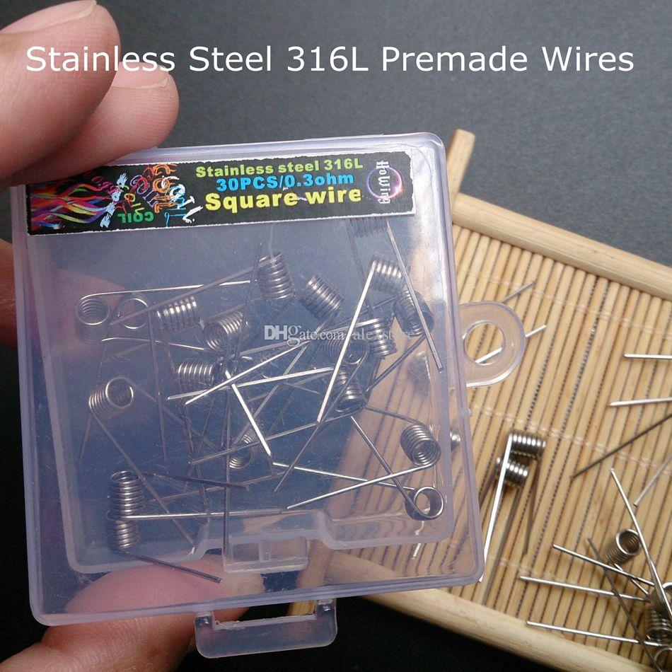 Stainless Steel 316L Resistance Premade Wires SS Coils 0.3ohm Wraps Heating Pre-Coiled Square Pre-built Wire 30pcs/Box for Vaping RDA