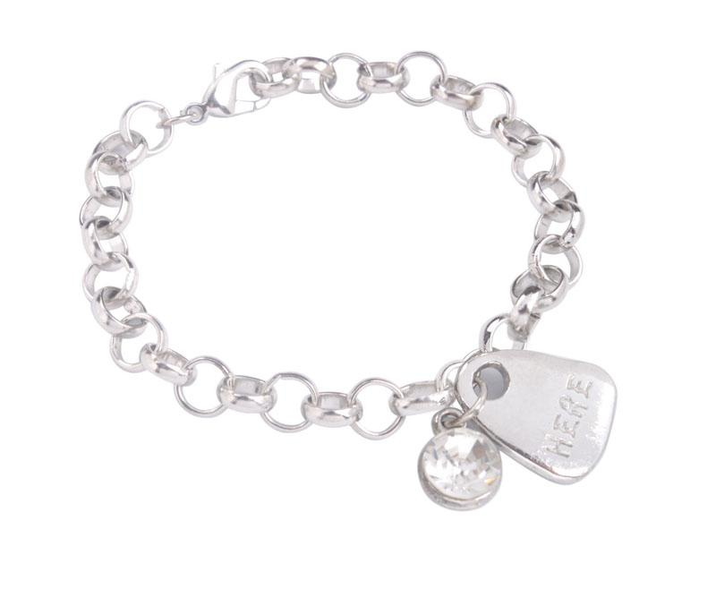 New arrive 1PCS Fashion alloy charm Bracelet Silver Tone Metal Assorted word Rhinestone Charm Chain Bracelet