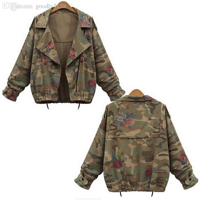 Toptan-Yeni Sonbahar Kış Ordu Yeşil Kamuflaj Kadınlar ceketler Çiçek Baskılı Fermuar Jeans Coats İçin Kadın Denim Hırkalar