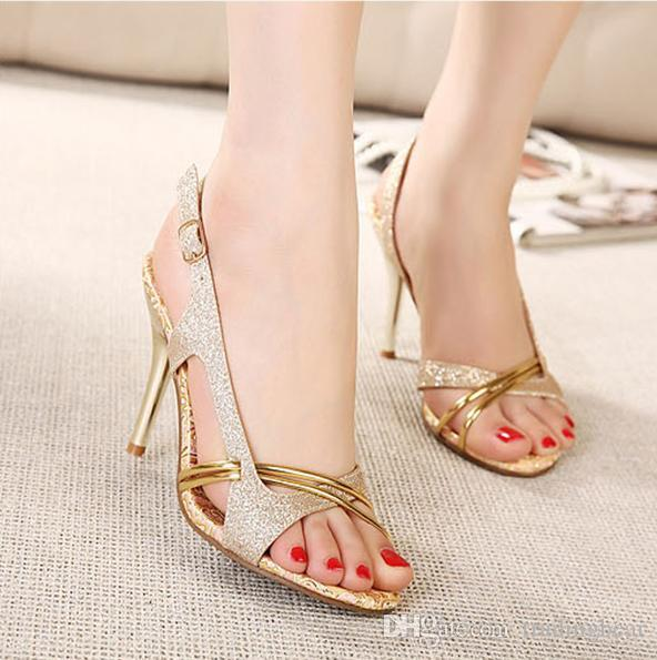 New fashion high heels sandals gold shoes dress shoes 10CM sexy glitter wedding shoes christmas party EU34-39