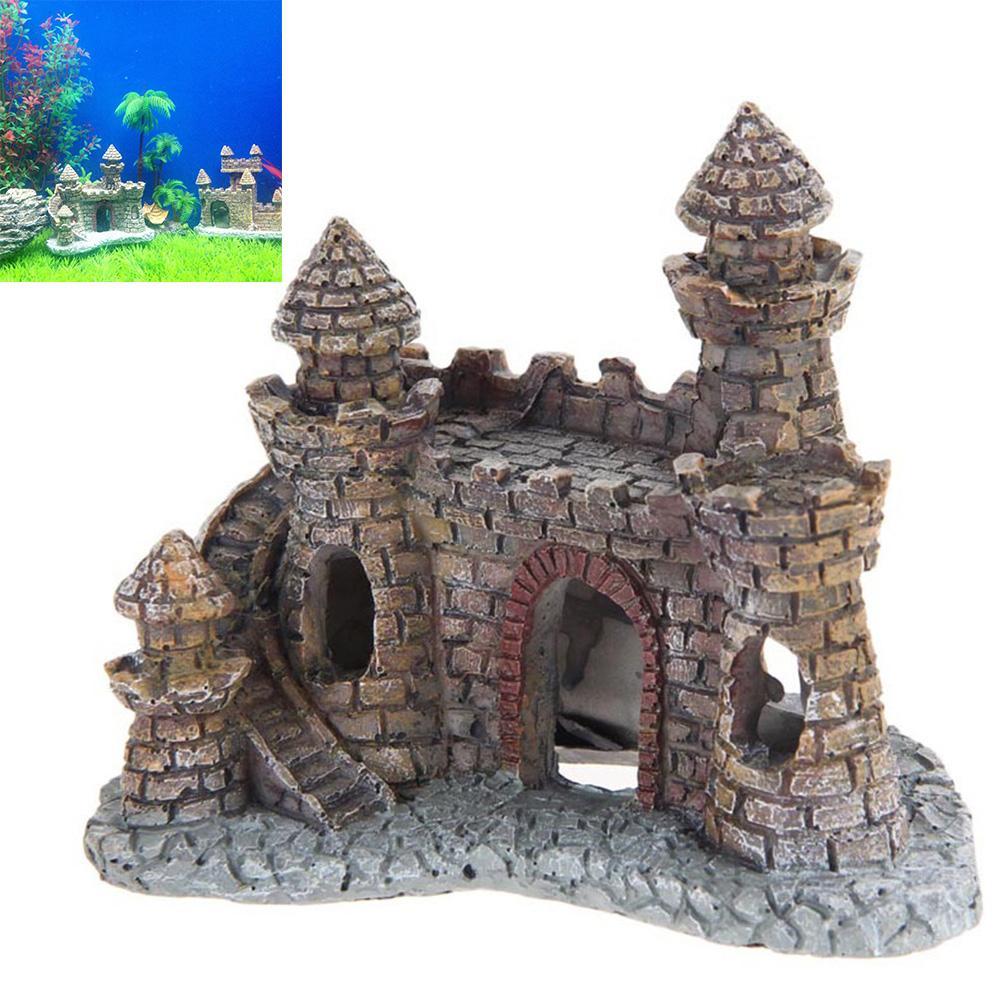 حار بيع الراتنج الكرتون القلعة أحواض الزينة برج القلعة الحلي الأسماك خزان ماء الديكور اكسسوارات