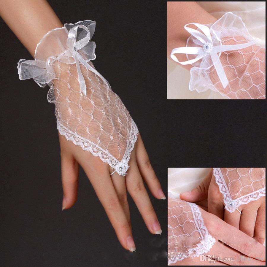 Лучшие Продажи Дешевые Дешевые Свадебные Перчатки Белые Короткие Свадебные Аксессуары 2015 Bridals Перчатки Кружева Свадебные Перчатки Без Пальцев