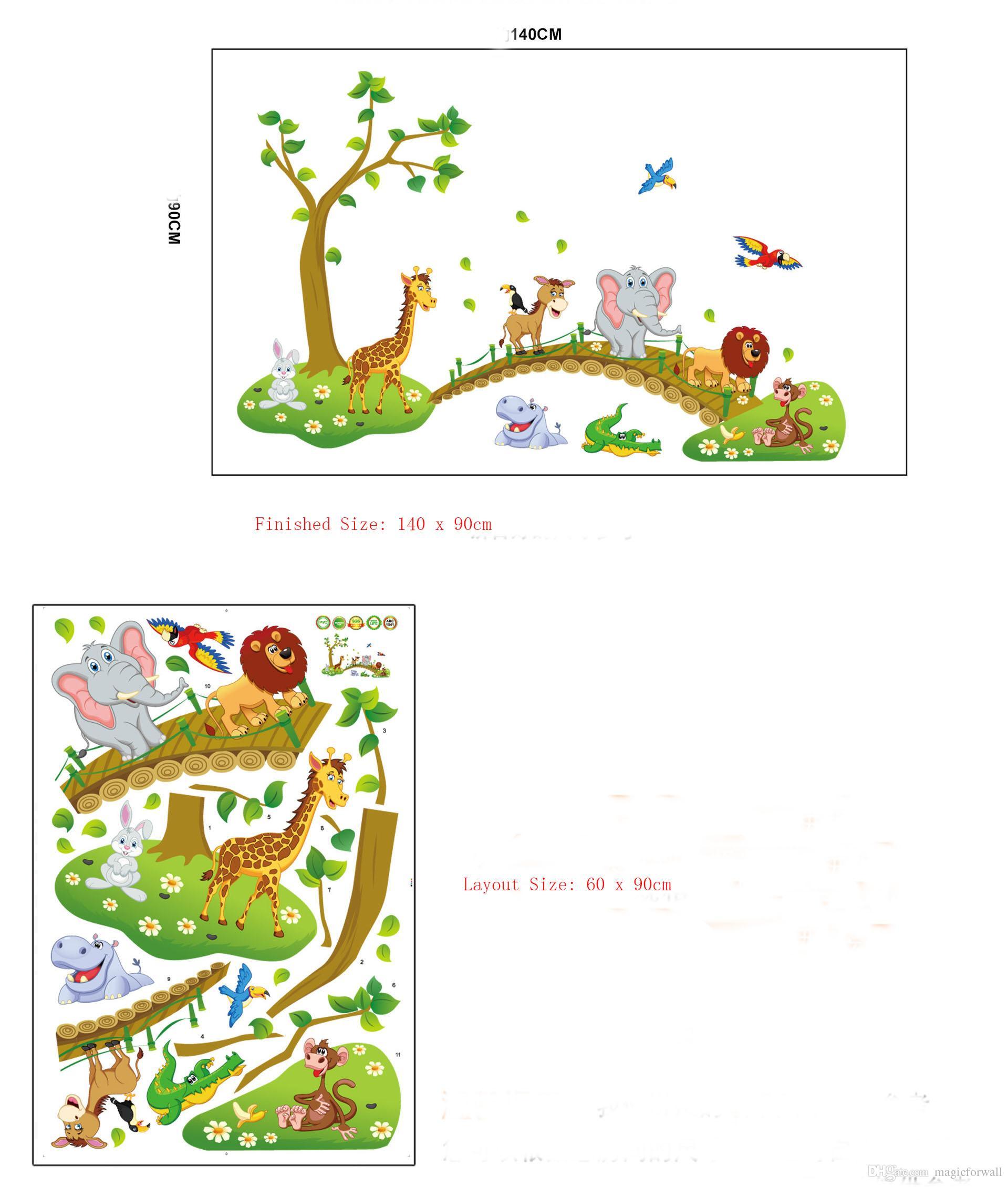 Acheter Décorations Murales Chambre D\'enfant Autocollant Sticker Stickers  Muraux Grands Animaux De La Jungle Grands Pont De Bébé Papier Peint ...