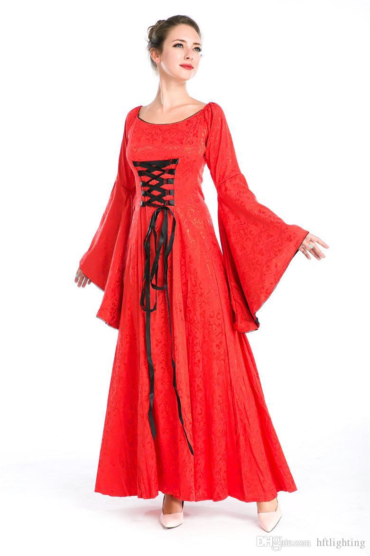 Wholesale Women'S Red Renaissance Medieval Costume Long Dress ...