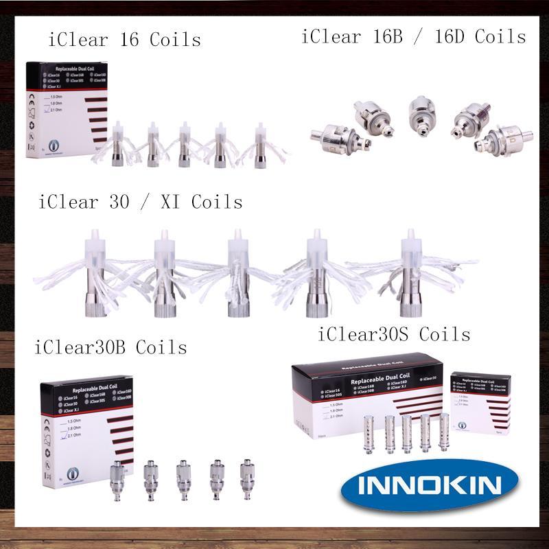 Innokin Reemplazo de bobinas dobles Cabezal para iClear 16 iClear 16B 16D iClear 30 iClear 30B iClear 30S iClear X.I Clearomizer 100% Original