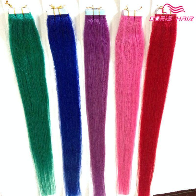 حار بيع! حريري مستقيم الشريط ملحقات الشعر مزج الألوان الوردي ، أحمر أزرق بنفسجي أخضر الشريط في الشعر البشري الشريط على الشعر