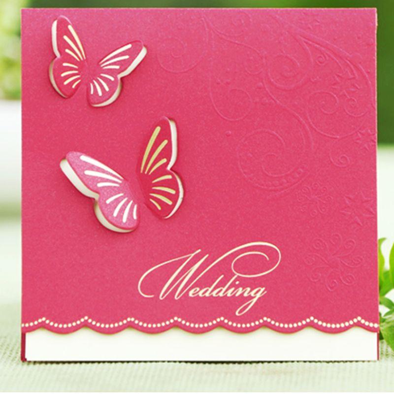 50 PCS Invitaciones de boda Estilo de mariposa Tarjeta de invitación de diseño elegante Plegado Champán Color Libre personalizado e impresión