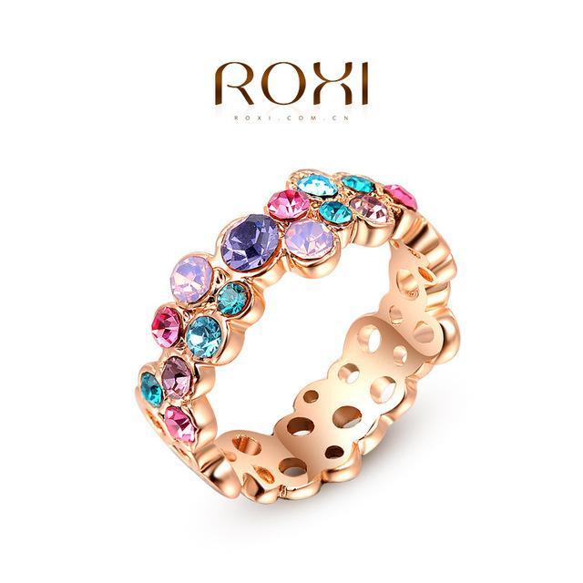 Nuevo anillo de circón de cristal austriaco de lujo colorido anillo de compromiso de boda Real 24K oro rosa lleno de joyería de moda A045