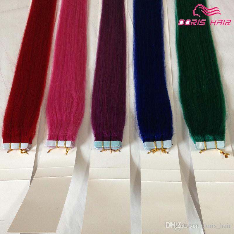 PINK RED 6Colors Mix 16Inch zu 24Inch Band in Haut-Haarverlängerungen, Remy Klebeband-Haar-Verlängerungen, 20pcs / bag Freies Verschiffen epacked